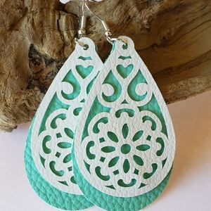 White &  Turquoise Faux Leather Earrings